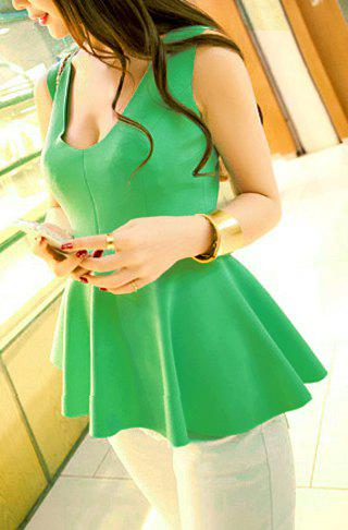 Women's Charming Narrow Waist Ruffles Solid Color Tank Top - LIGHT GREEN ONE SIZE