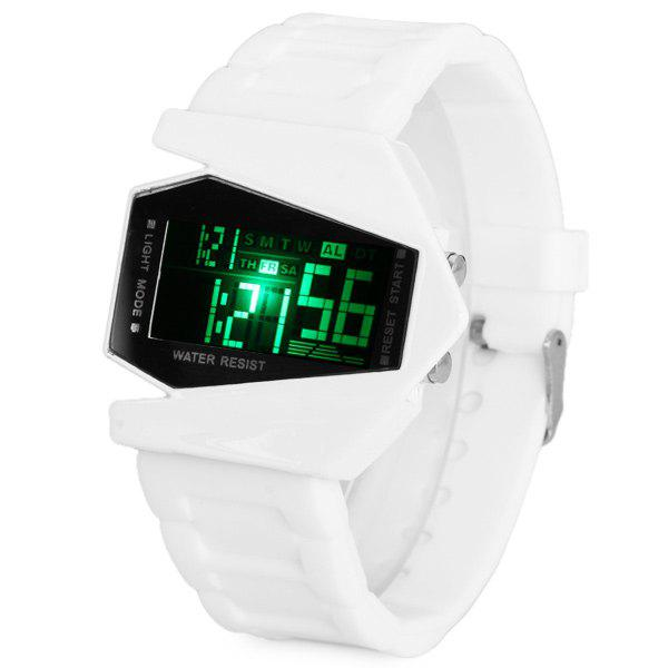 LED Watch the Plane Shape Dial with Week Stopwatch and Rubber Watchband - WHITE