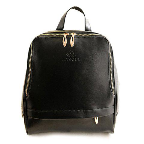 Trendy PU Leather and Zipper Design Satchel For Satchel - BLACK
