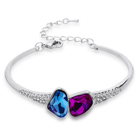 Delicate Colorful Faux Crystal Decorated Diamante Bracelet For Women - COLOR ASSORTED