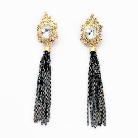 Pair of Tassels Pendant Diamante Floral Earrings - AS THE PICTURE