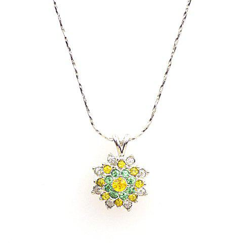 Cute Rhinestone Filled Flower Pendant Necklace For Women - COLOR ASSORTED