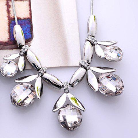 Rhinestone Leaf Pendant Necklace - WHITE