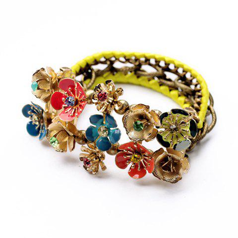 Exquisite Candy Color Floral Manual Knitted Bracelet For Women