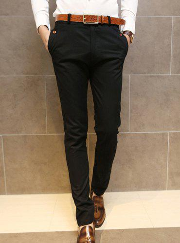 Simple Style Zipper Fly Button Embellished Solid Color Slimming Straight Leg Men's Cotton Blend Pants - BLACK L