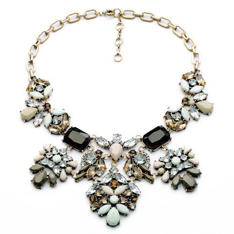 Vintage Special Design Waterdrop Shaped Faux Crystal Flower Pendant Necklace For Women