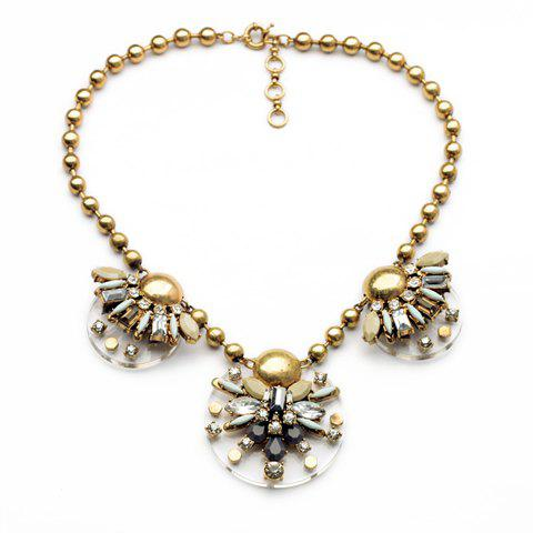 Fashion Geometric Faux Gem Embellished Floral Pendants Beads Necklace For Women - GOLDEN