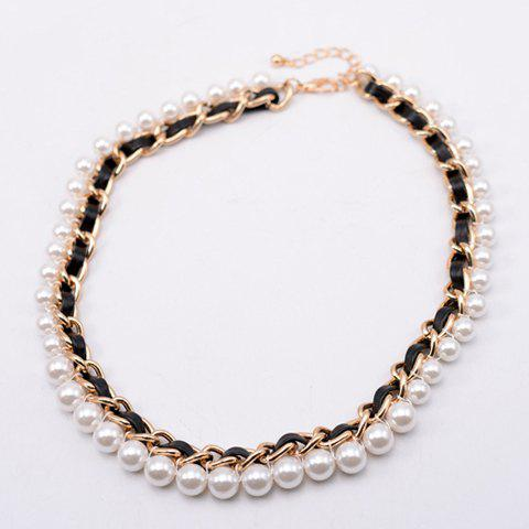 Delicate Faux Pearl Embellished Knitted Necklace For Women - AS THE PICTURE