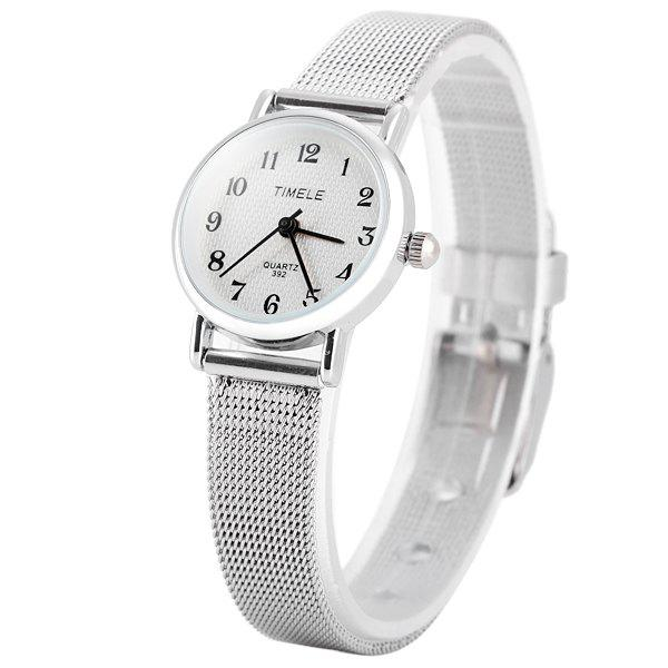 Timele 392 Quartz Arabic Numerals Indicate Round Dial Watch with Stainless Steel Watchband for Women - SILVER