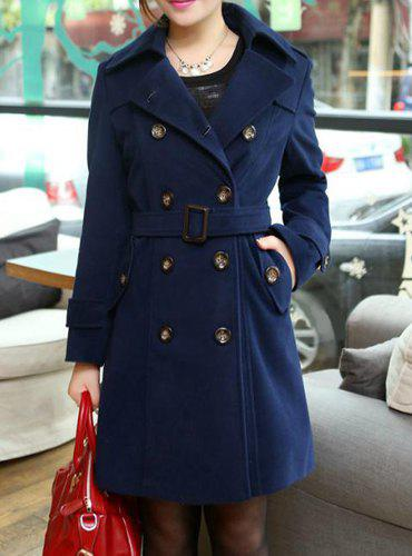 Solid Color Double-Breasted Fashionable Turn-Down Collar Long Sleeve Women's Coat - CADETBLUE XL
