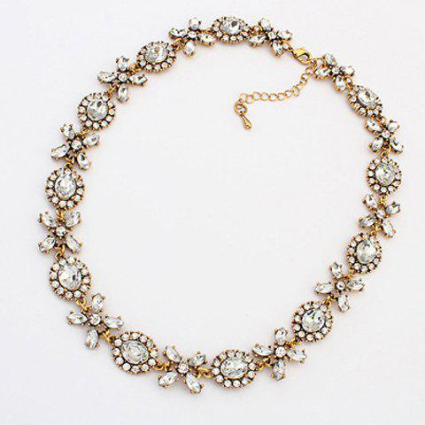 Fashion Rhinestone Ellipse Flower Pendant Necklace For Women - AS THE PICTURE