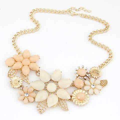 Fashion Chic Resin Rhinestone Flower Pendant Necklace For Women - OFF WHITE