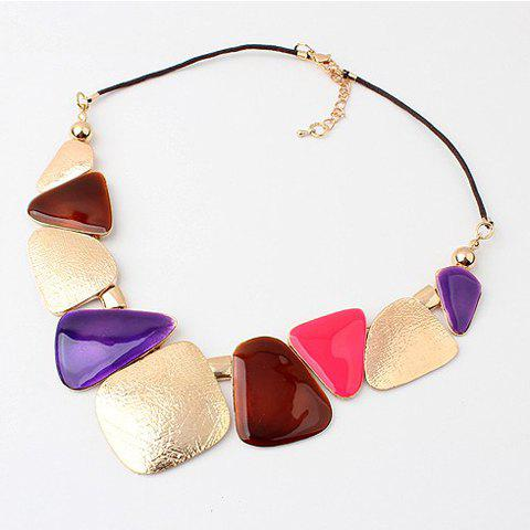 Fashion Trendy Geometric Irregular Pendant Necklace For Women - COLOR ASSORTED