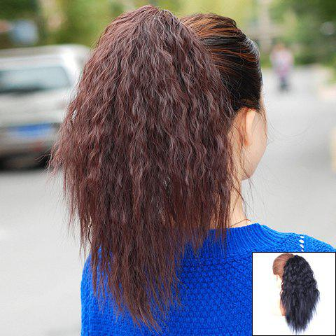 Trendy Personality Fluffy Long Wavy High Temperature Fibre Women's Ponytail - BLACK