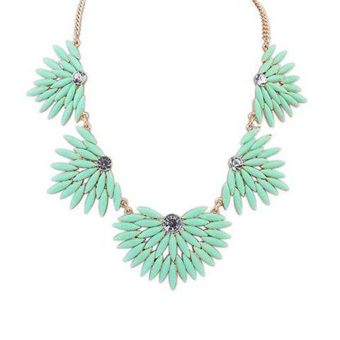 Stylish Chic Candy Color Beads Geometric Shape Necklace For Women - LIGHT GREEN