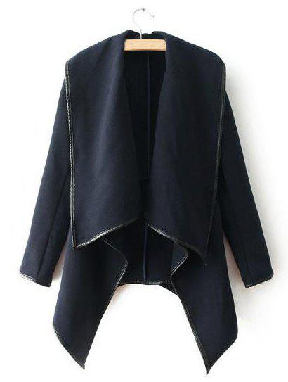 Solid Color Leather Splicing Long Sleeve Slimming Trendy Style Women's Coat - BLACK S