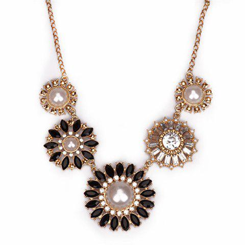Faux Pearl Rhinestone Round Flower Necklace - BLACK