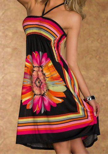 Bohemian Floral Print Halter A-Line Dress For Women - BLACK L