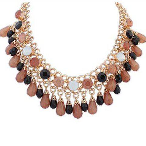 Sweet Candy Color Beads Geometric Shape Multi-Layered Pendant Necklace For Women - COFFEE