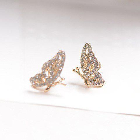 Pair of Delicate Chic Solid Color Rhinestone Openwork Butterfly Earrings For Women