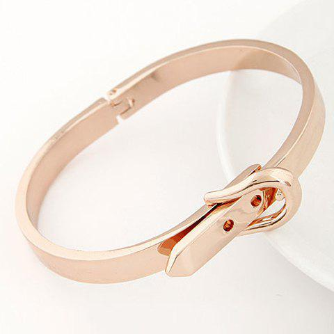 Sweet Simple Design Solid Color Buckle Pattern Cuff Bracelet For Women - GOLDEN