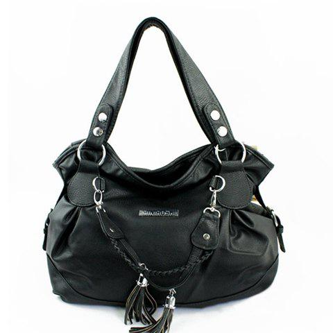 Stylish Tassels and Solid Color Design Shoulder Bag For Women - BLACK
