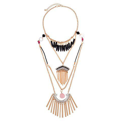 Characteristic Multi-Layered Special Design Tassels Pendant Necklace For Women - BLACK