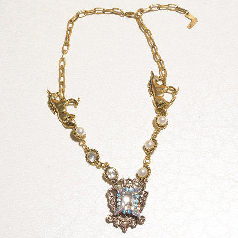 Stylish Chic Rhinestone Pearl Embellished Necklace For Women - AS THE PICTURE