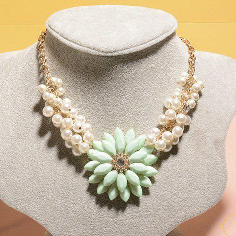 Sweet Cute Pearl Embellished Flower Pendant Necklace For Women - GREEN