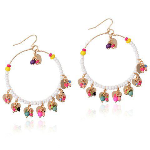 Pair of Chic Colorful Beads Embellished Round Beads Pendant Earrings For Women
