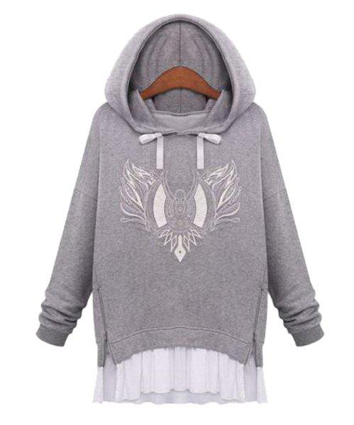 Casual Style Long Sleeve Embroidery Zipper Splicing Women's Hoodie - LIGHT GRAY S