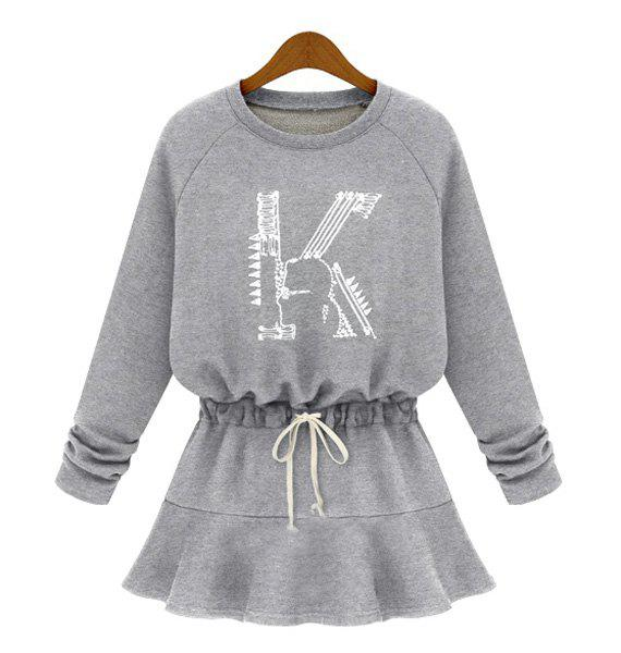 Casual Style Round Collar Long Sleeve Letter Print Drawstring Women's Dress - LIGHT GRAY XL