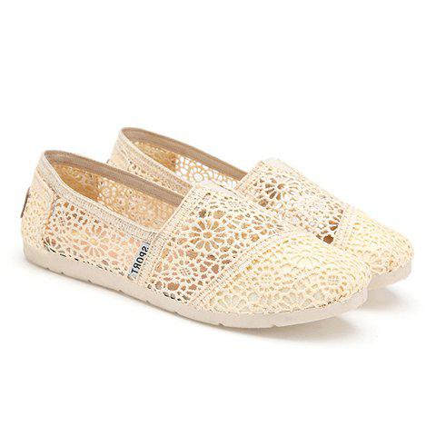 5da4430e3be8 17% OFF  2019 Pretty Openwork and Lace Design Flat Shoes For Women ...