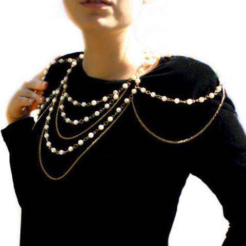 Sexy Faux Pearl Embellished Layered Women's Body Chain - GOLDEN