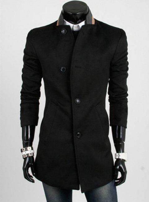 Casual Style Slimming Long Sleeves Stand Collar Color Block Single-Breasted Men's Woolen Trench Coat - BLACK 2XL