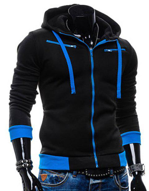 Casual Style Slimming Hooded Zipper Embellished Color Splicing Long Sleeves Men's Thicken Cotton Blend Sport Coat - BLACK L