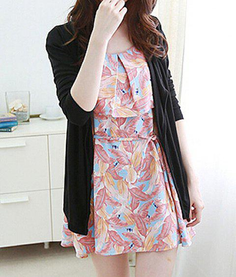 Casual Long Sleeve Collarless Solid Color Women's Cardigan - BLACK ONE SIZE