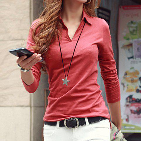 bbf9587e30cc Casual Women's Shirt Collar Long Sleeves Solid Color T-Shirt - BRICK RED L