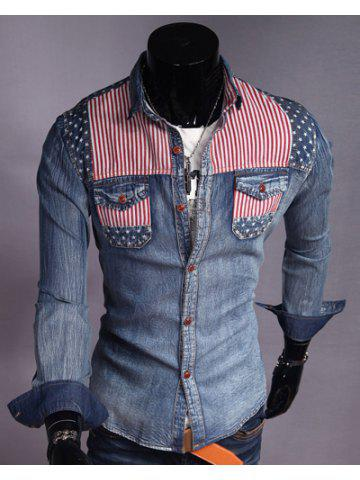 10056a47086 Casual Style Color Block Stripes Print Slimming Turn-down Collar Long  Sleeves Men s Denim Shirt