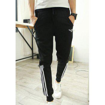 Slimming Trendy Lace-Up Stripes Print Elastic Cuffs Narrow Feet Men's Cotton Blend Harem Pants