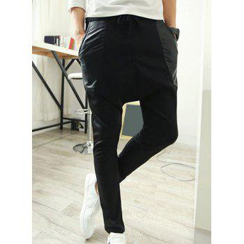 Casual Style Lace-Up Slimming Leather Pocket Narrow Feet Men's Cotton Blend Parachute Pants