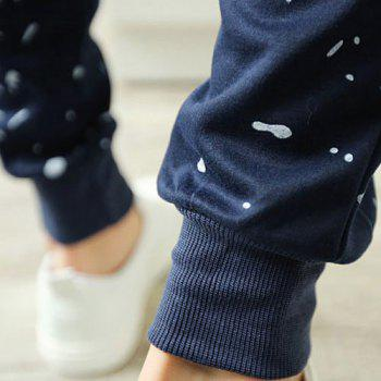 Casual Style Lace-Up Slimming Color Block Dot and Letters Print Narrow Feet Men's Cotton Blend Pants - PURPLISH BLUE XL