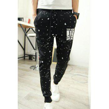Casual Style Lace-Up Slimming Color Block Dot and Letters Print Narrow Feet Men's Cotton Blend Pants