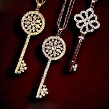 One Piece of Stylish Chic Heart Rhinestone Key Pendant Sweater Chain Necklace For Women - RANDOM COLOR PATTERN RANDOM COLOR PATTERN