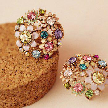 Pair of Rhinestone Flower Earrings - AS THE PICTURE