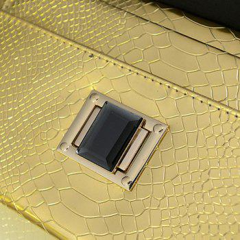 Elegant Chain and Crocodile Print Design Clutch For Women -  GOLDEN