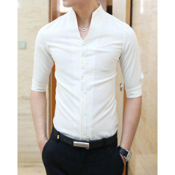 17 Off 2019 Casual Style Slimming Half Sleeves Stand
