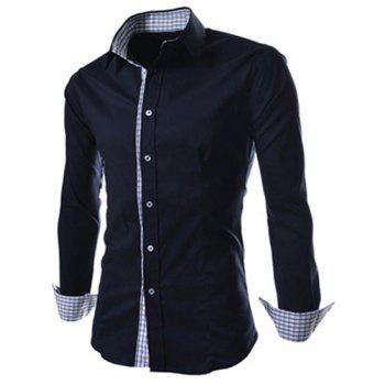 Slimming Trendy Turn-down Collar Checked Print Splicing Long Sleeves Men's Cotton Blend Shirt - BLACK 2XL