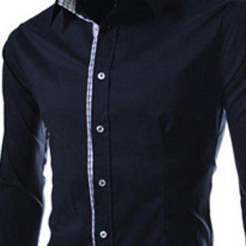 Slimming Trendy Turn-down Collar Checked Print Splicing Long Sleeves Men's Cotton Blend Shirt - 2XL 2XL