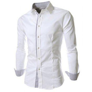 Slimming Trendy Turn-down Collar Checked Print Splicing Long Sleeves Men's Cotton Blend Shirt - WHITE WHITE
